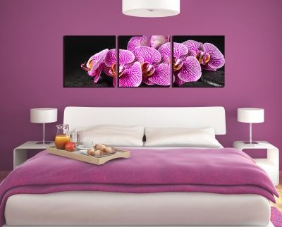 Wall art decoration for bedroom with orchids