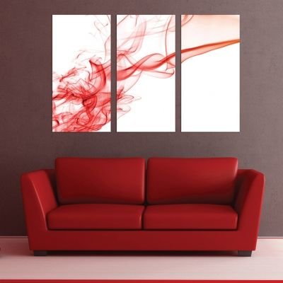 0267 AbstractWall art decoration (set of 3 pieces) White and red
