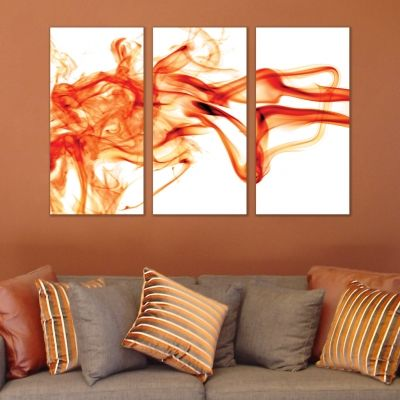 0270 AbstractWall art decoration (set of 3 pieces) White and orange