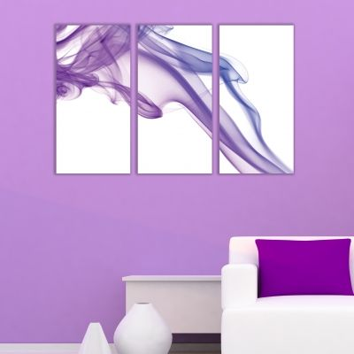 0271 AbstractWall art decoration (set of 3 pieces) White and purple