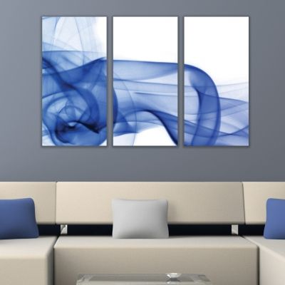 0272 AbstractWall art decoration (set of 3 pieces) White and blue