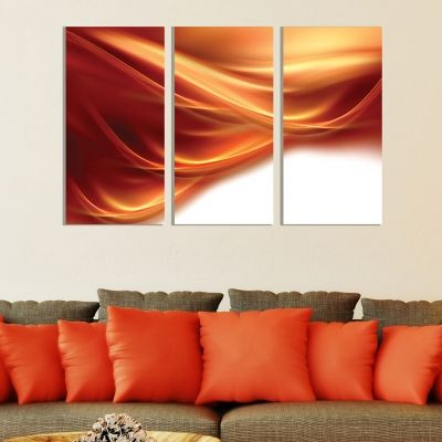 0273 Abstract wall art decoration (set of 3 pieces) Orange and white