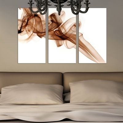 0274 Abstract wall art decoration (set of 3 pieces) White and brown