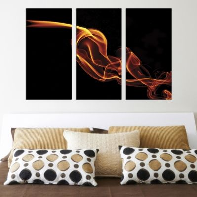 0275 Abstract wall art decoration (set of 3 pieces) Fire