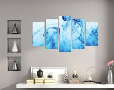 Abstract wall art with blue smoke on black background