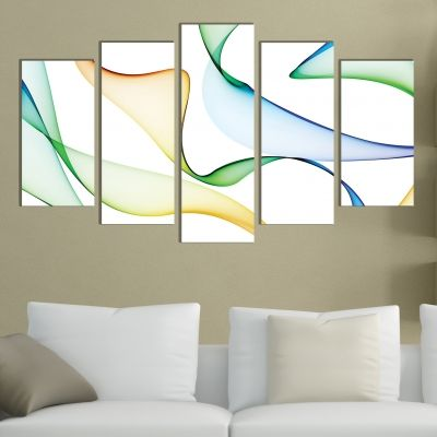 0281 Abstract wall art decoration (set of 5 pieces) Color waves
