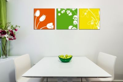 Wall art decoration set with florals in orange, green and yellow