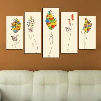 0286 Wall art decoration (set of 5 pieces) Stylized leaves
