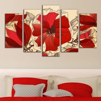 0288 Floral art decoration (set of 5 pieces) Red flowers