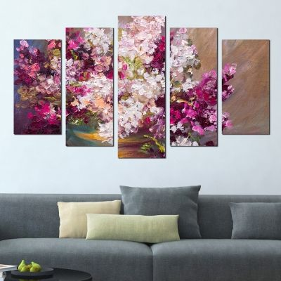 0293 Wall art decoration (set of 5 pieces) Lilac