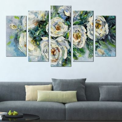 0296 Wall art decoration (set of 5 pieces) Roses