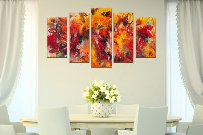 abstract Painting canvas wall art in red