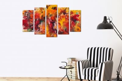 canvas home wall art decoration abstract flowers orange