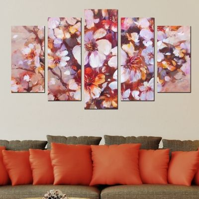 0298 Wall art decoration (set of 5 pieces) Almonds blossom