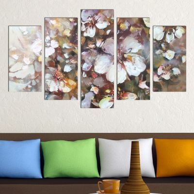 0299 Wall art decoration (set of 5 pieces) Almonds blossom