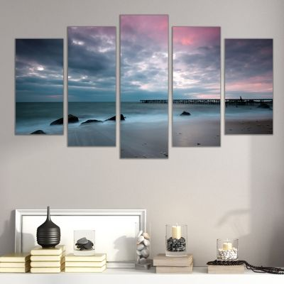 0307 Wall art decoration (set of 5 pieces)  Sunset over the coast