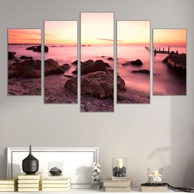 0308 Wall art decoration (set of 5 pieces)  Sunset over the coast