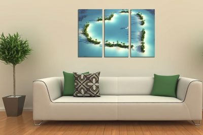 Canvas wall art set of 3 pieces Island of love