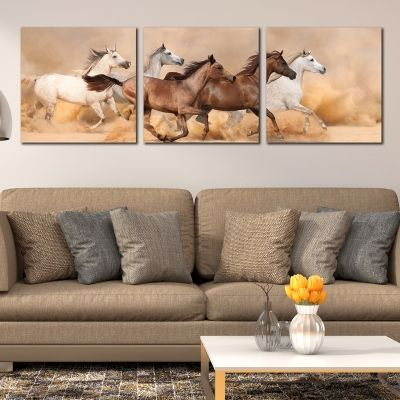 0333 Wall art decoration (set of 3 pieces) Wild horses