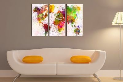 Canvas wall art set of 3 pieces world map