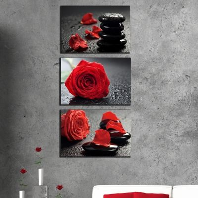0345 Wall art decoration (set of 3 pieces) Roses