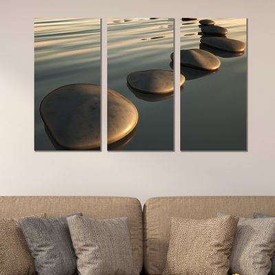 0346 Wall art decoration (set of 3 pieces)  Step stones in the sea