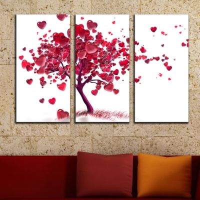 0048  Wall art decoration (set of 3 pieces) Love tree