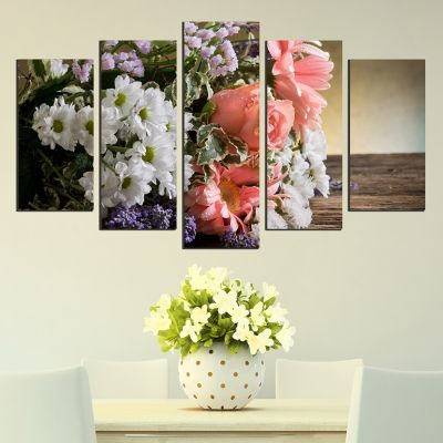 0353 Wall art decoration (set of 5 pieces) A bouquet of fragrant flowers