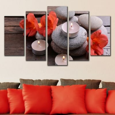 wall decoration spa composition orange