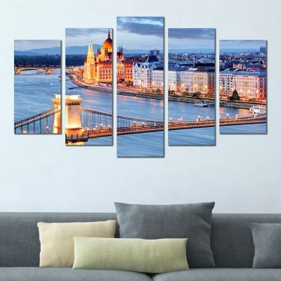 0362 Wall art decoration (set of 5 pieces) Budapest