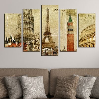 0369 Wall art decoration (set of 5 pieces) European symbols - vintage
