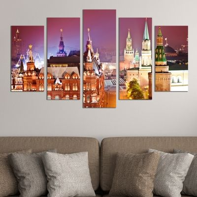 0377 Wall art decoration (set of 5 pieces) Moscow at night