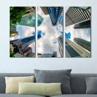 0378 Wall art decoration (set of 3 pieces)  Skyscrapers