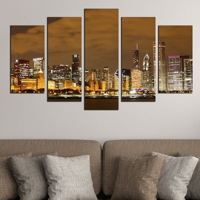0382 Wall art decoration (set of 5 pieces) Chicago