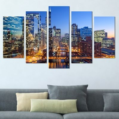 0383 Wall art decoration (set of 5 pieces) Chicago