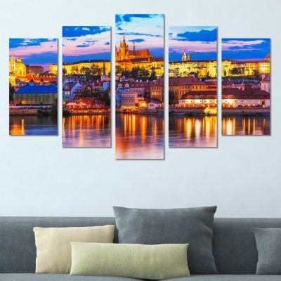 0386 Wall art decoration (set of 5 pieces) Prague cityscape