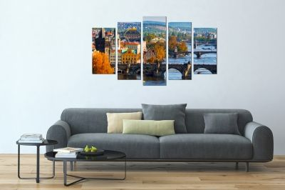Wall art set Prague day cityscape