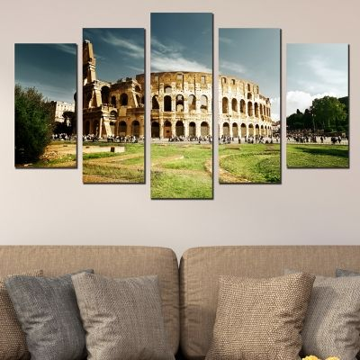 0390 Wall art decoration (set of 5 pieces) Rome coliseum