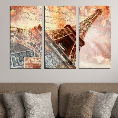 0396 Wall art decoration (set of 3 pieces) Paris vintage