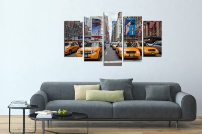 Wall art set 5 pieces New York yellow cabs