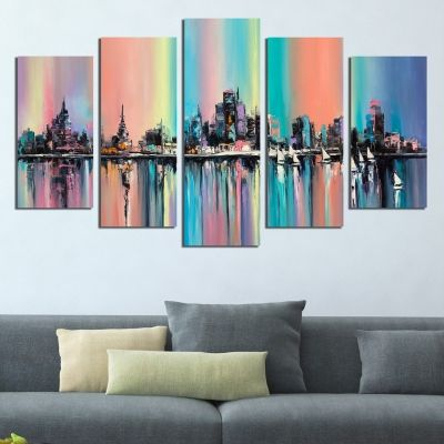 0404 Wall art decoration (set of 5 pieces) Modern city