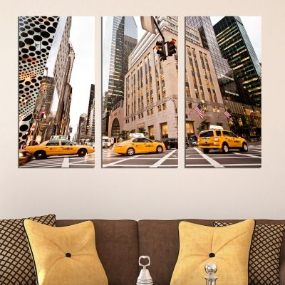 0407 Wall art decoration (set of 3 pieces) New York yellow cabs
