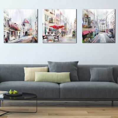 0411 Wall art decoration (set of 3 pieces) Cityscapes