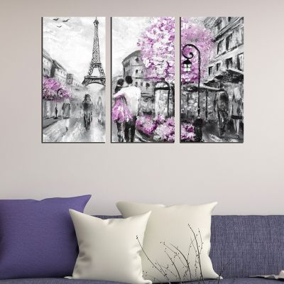 0417 Wall art decoration (set of 3 pieces) Lovers in Paris