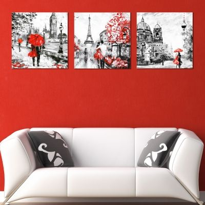 0420 Wall art decoration (set of 3 pieces) London - Paris - Berlin