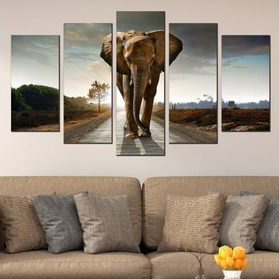 Canvas and pvc wall art set of 5 pices with elephant