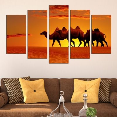 0427 Wall art decoration (set of 5 pieces) Camels