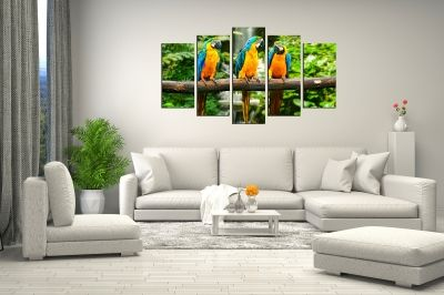 Colorful canvas wall art with parrots