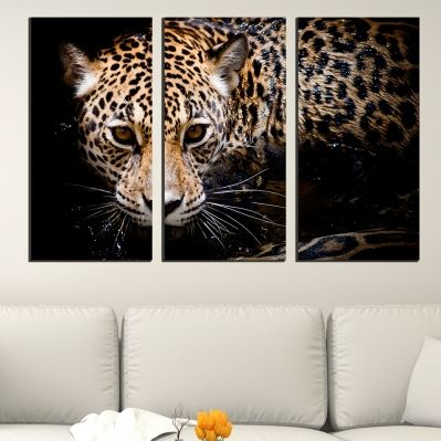 0432 Wall art decoration (set of 3 pieces) Jaguar