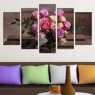0433 Wall art decoration (set of 5 pieces) A bouquet of roses
